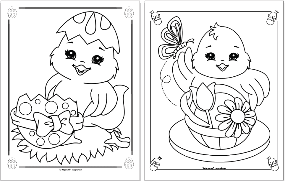 Two cute Easter chick coloring pages. Each chick is inside a decorative frame to color. The chick on the left is next to a dotted Easter egg with a boy on it. The chick on the right is behind a basket. A butterfly is over its upraised right wing.