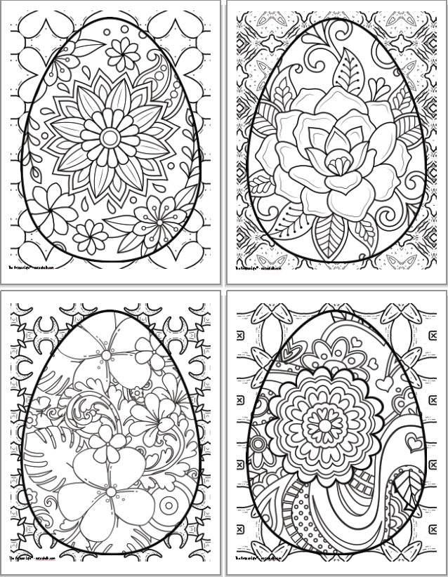 A 2x2 grid of printable Easter egg coloring pages for adults. Each egg has a floral design. The eggs are overplayed on abstract geometric designs to color.