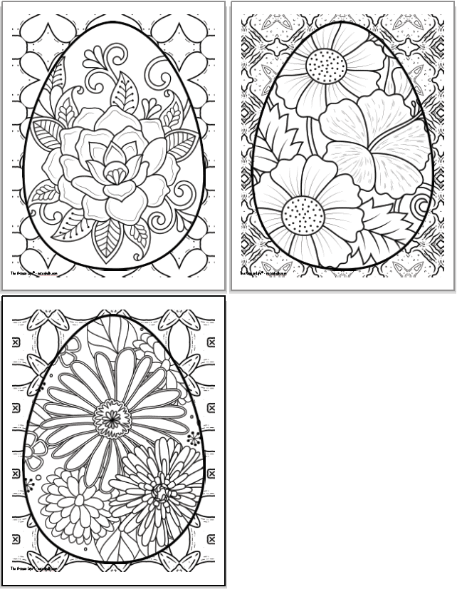 Three printable adult coloring pages with Easter eggs to color. Each Easter egg is very large and almost completely fills the page. Behind each egg is an abstract geometric design to color.