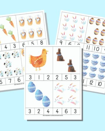 Three pages of Easter themed count and clip cards. Each page has four cards to cut apart. Each card has clipart images with 1-12 items and three numbers across the bottom for a child to clip the correct answer with a clothespin.