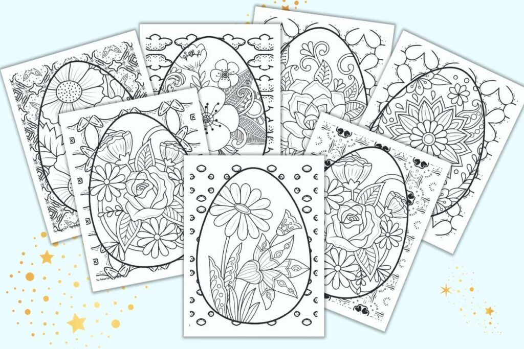 Seven free printable Easter Egg coloring pages for adults on a light blue background. Each page has a floral Easter egg on a geometric background to color.