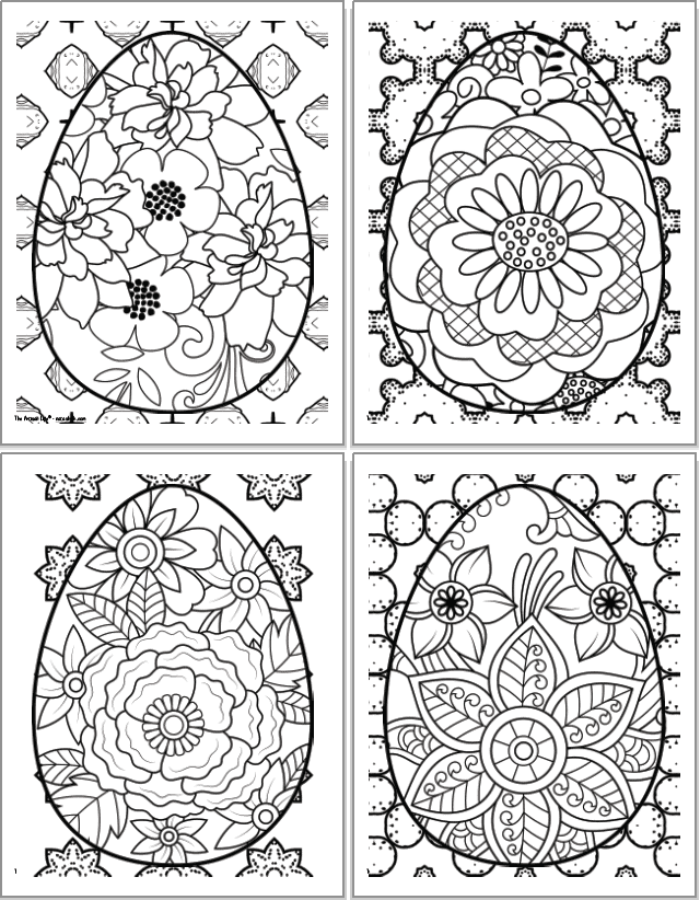 A 2x2 grid of printable Easter egg coloring sheets for adults. Each egg has a floral design inside. The eggs are overplayed on abstract geometric designs to color.