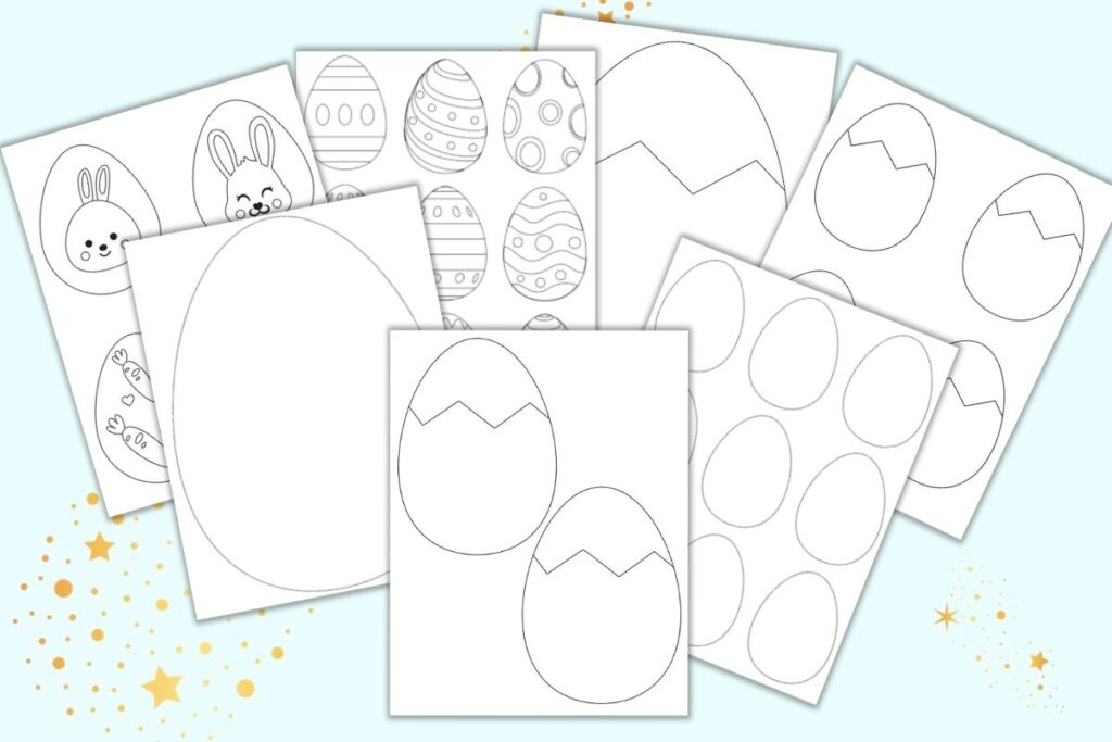 seven free printable Easter egg templates and coloring pages for children. Pages include blank easter eggs, cracked easter eggs, and eggs with simple designs like zig zags and dots