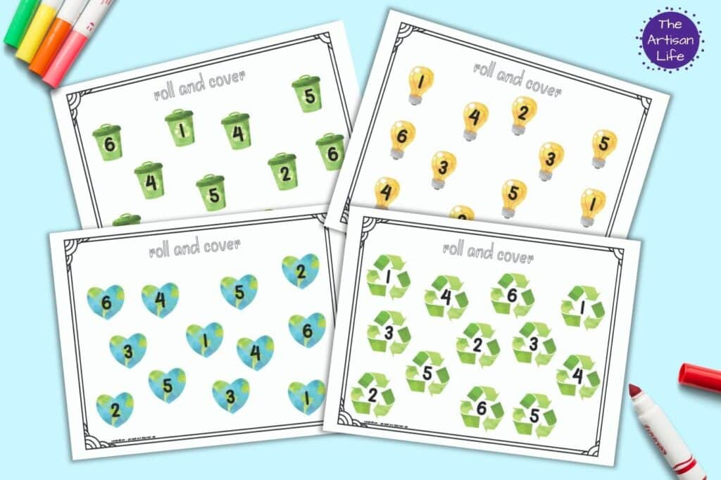 Four printable roll and cover mats for preschool math. Each page has the numbers 1-6 two times apiece. Each page has its own clip art: a planet Earth heart, a recycling symbol, a lightbulb, and a green recycling can.
