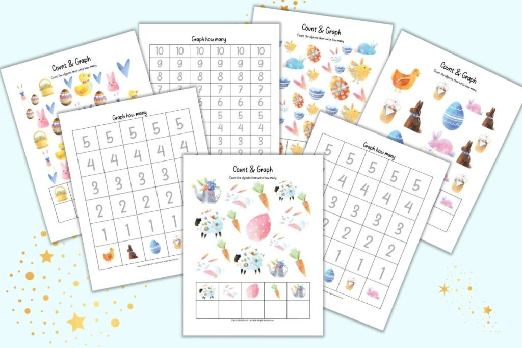 A mockup preview of seven pages of count and graph pages for preschoolers with an Easter theme. Four of the pages have cute Easter clipart and a place to record the quantity of each image. Three pages have graphs to fill in with 1-5 or 1-10