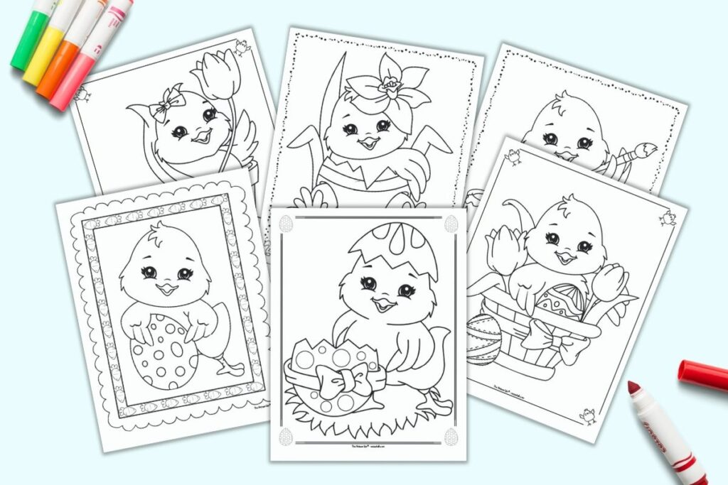 A preview of six printable cute Easter chick coloring pages for kids with colorful children's markers. The pages each have a cartoon baby chick with Easter eggs.