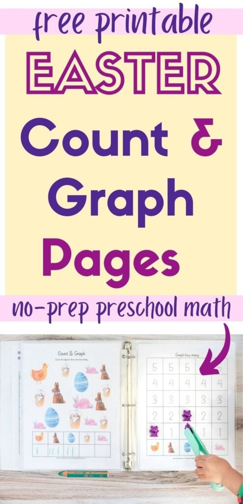 """text """"free printable Easter count and graph pages - no-prep preschool math"""" with an arrow pointing at two printed Easter count and graph worksheets in page protectors in a whit binder. The left page has Easter clip art and boxes to write how many of each image is on the page. The right page has a graphing page with numbered boxes 1-5 to fill in with the appropriate number for each clip art image. A young child's hand is using a pair of teal plastic tongs to place a purple counting bear on a square."""
