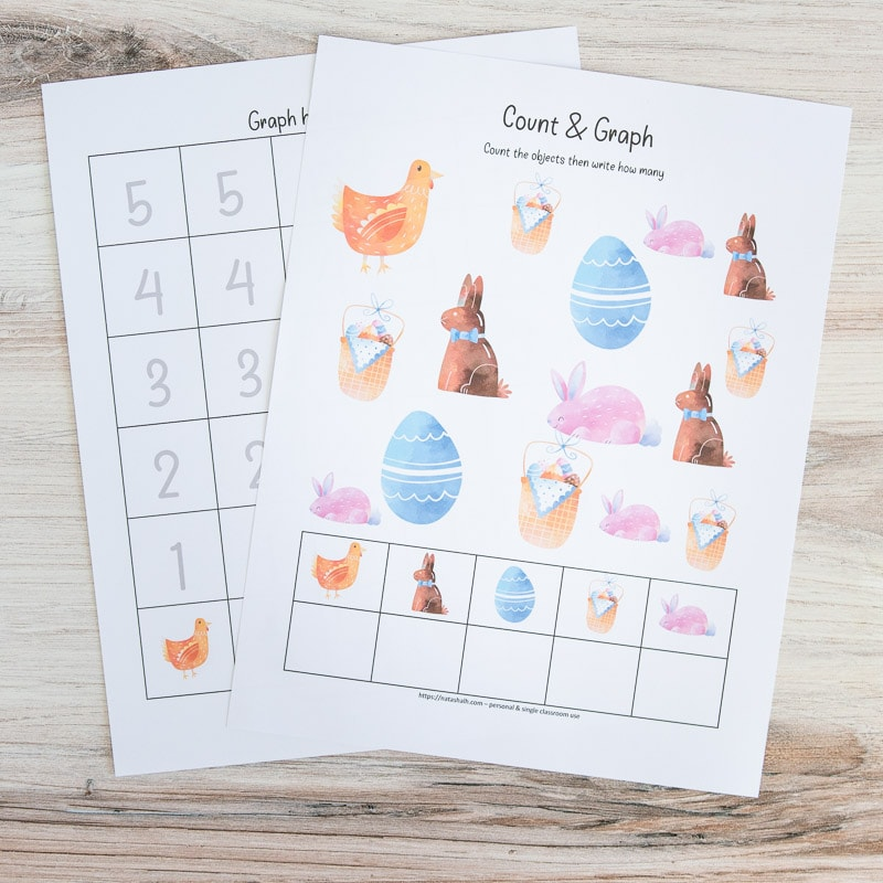Two printed Easter count and graph worksheets. The front page has Easter clip art and boxes to write how many of each image is on the page. The sheet behind has a graphing page with numbered boxes 1-5 to fill in with the appropriate number for each clip art image.