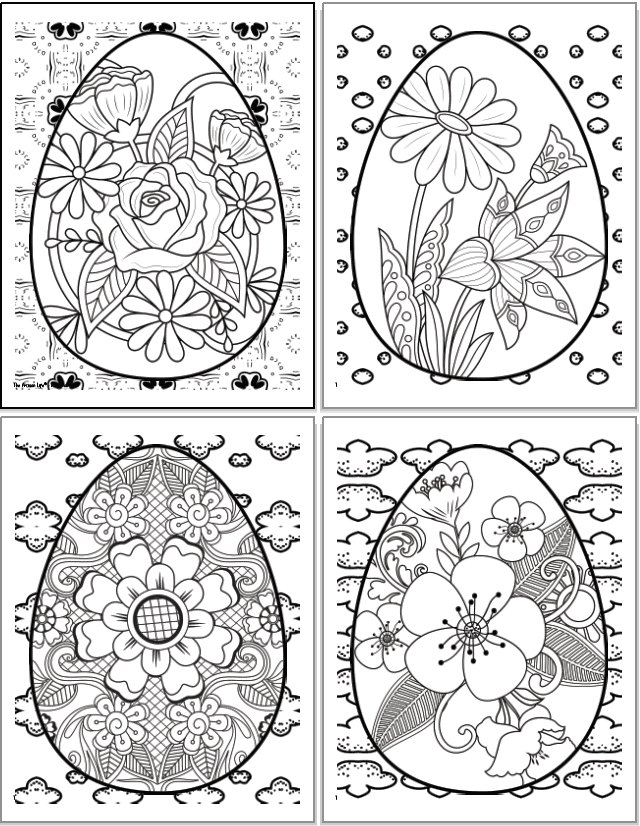 A 2x2 grid of printable Easter egg coloring pages for grown ups. Each egg has a floral design inside with roses, daisies, cherry blossoms, etc.. The eggs are overplayed on abstract geometric designs to color.