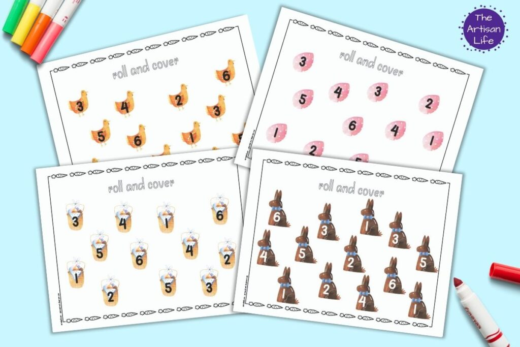 Four free printable Easter roll and cover mats for preschoolers. The mats each have 12 images and each image has a number 1-6. The numbers are repeated twice on each mat. The mats are shown on a blue background with colorful children's markers.