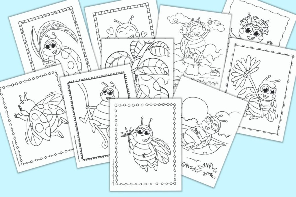 A preview of 10 cute cartoon ladybug coloring pages on a blue background. Pages include ladybugs with flowers, flying ladybugs, a dancing ladybug, and a ladybug with sunglasses lounging on a leaf.