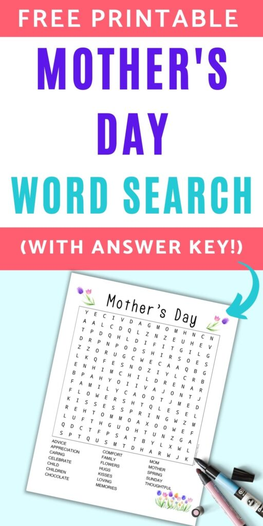 """Text """"free printable mother's day word search with answer key!"""" with a teal arrow pointing at a Mother's Day word search printable decorated with watercolor tulip clipart"""