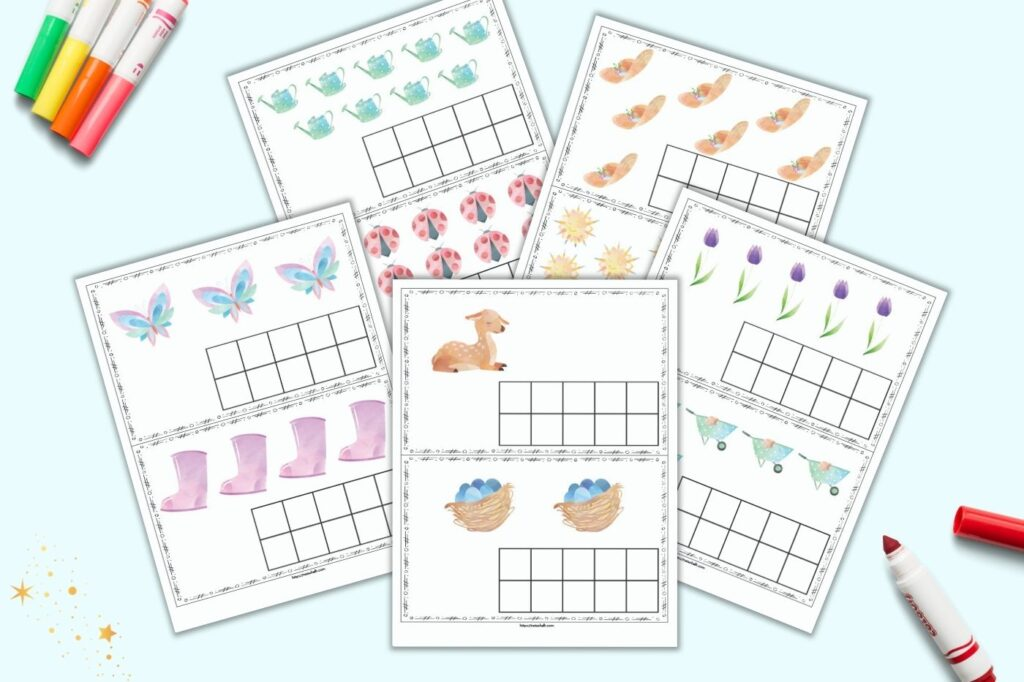 A preview of five free printable pages. Each page has two spring themed ten frame card printables to cut apart and use with preschoolers or kindergarteners.
