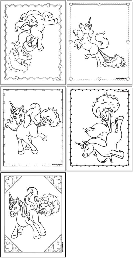 Five free printable unicorn farting coloring pages. Each page has a farting unicorn and a doodle frame.