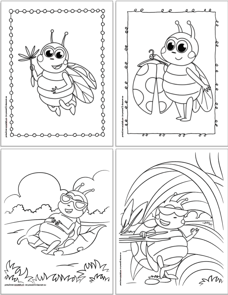 Four free printable ladybug coloring pages for kids in a 2x2 grid. The pages show: a ladybug flying with a dandelion seed, a ladybug hanging her spotted wings on a coat hoot, a ladybug relaxing on a flower, and a ladybug with sunglasses
