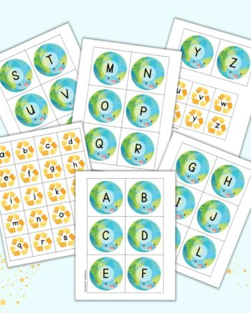 A preview of six pages of Earth Day themed alphabet matching card printables. There are large cards for each letter of the uppercase alphabet with the planet Earth and smaller cards with recycling symbols and lowercase letters.
