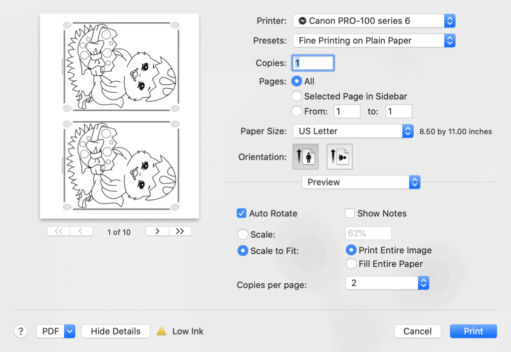 A print dialogue box from Mac Preview showing printing two Easter chick coloring pages two to a page