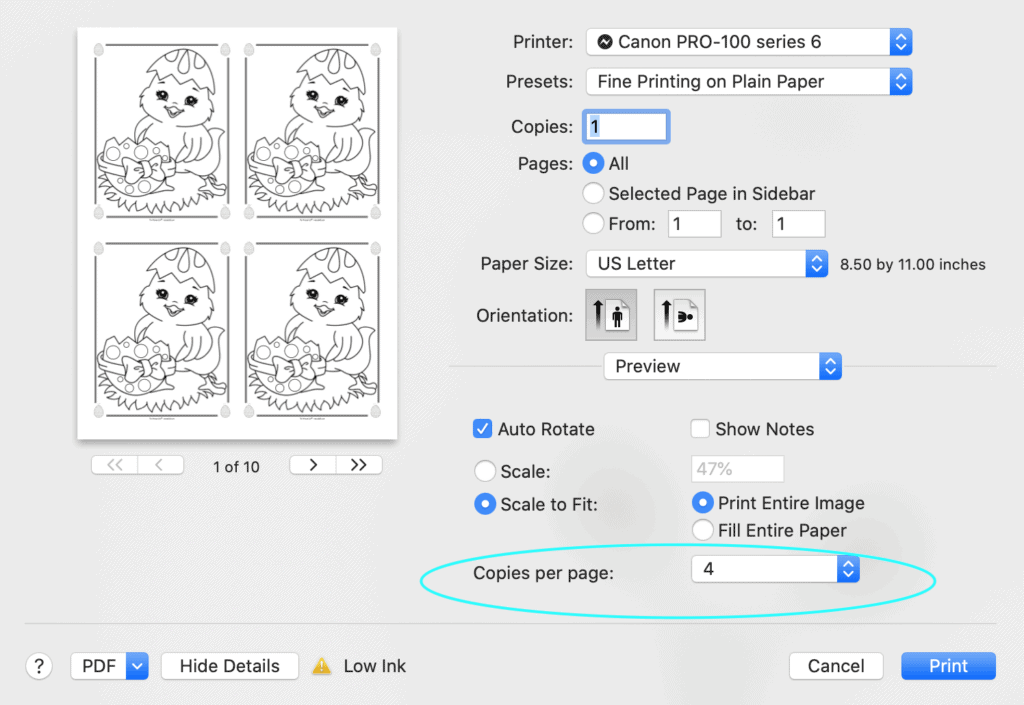 A print dialogue box from Mac Preview showing printing four Easter chick coloring pages four to a page