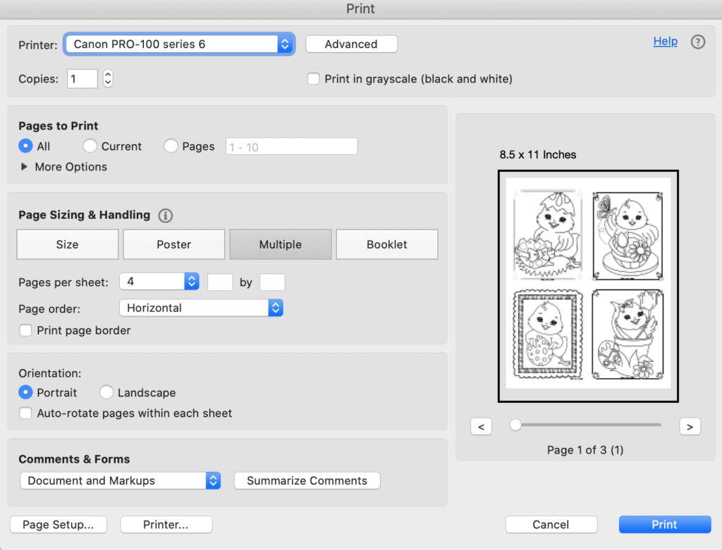 A print dialogue box from Acrobat Reader showing printing four Easter chick coloring pages four to a page
