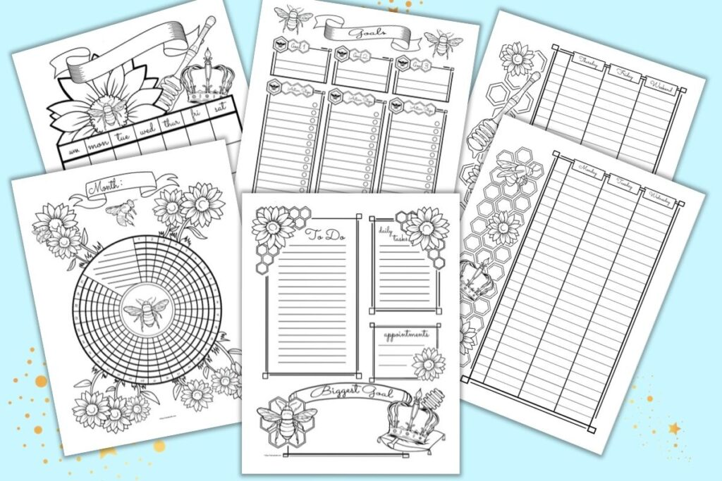 Six printable Queen Bee themed planner printables in a bullet journal style. Pages include a daily log, two page weekly spread, goals planner, monthly calendar, and habit tracker