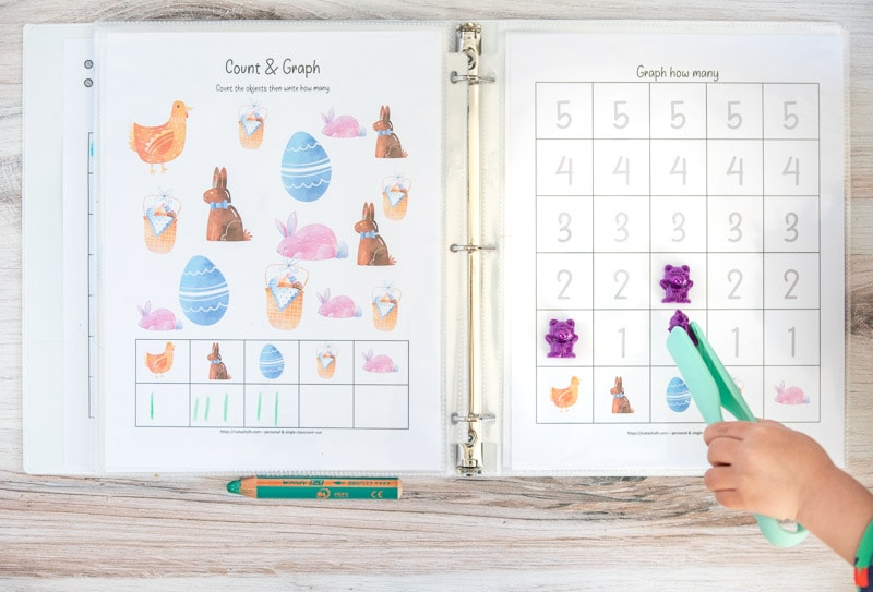 Two printed Easter count and graph worksheets in page protectors in a whit binder. The left page has Easter clip art and boxes to write how many of each image is on the page. The right page has a graphing page with numbered boxes 1-5 to fill in with the appropriate number for each clip art image. A young child's hand is using a pair of teal plastic tongs to place a purple counting bear on a square.