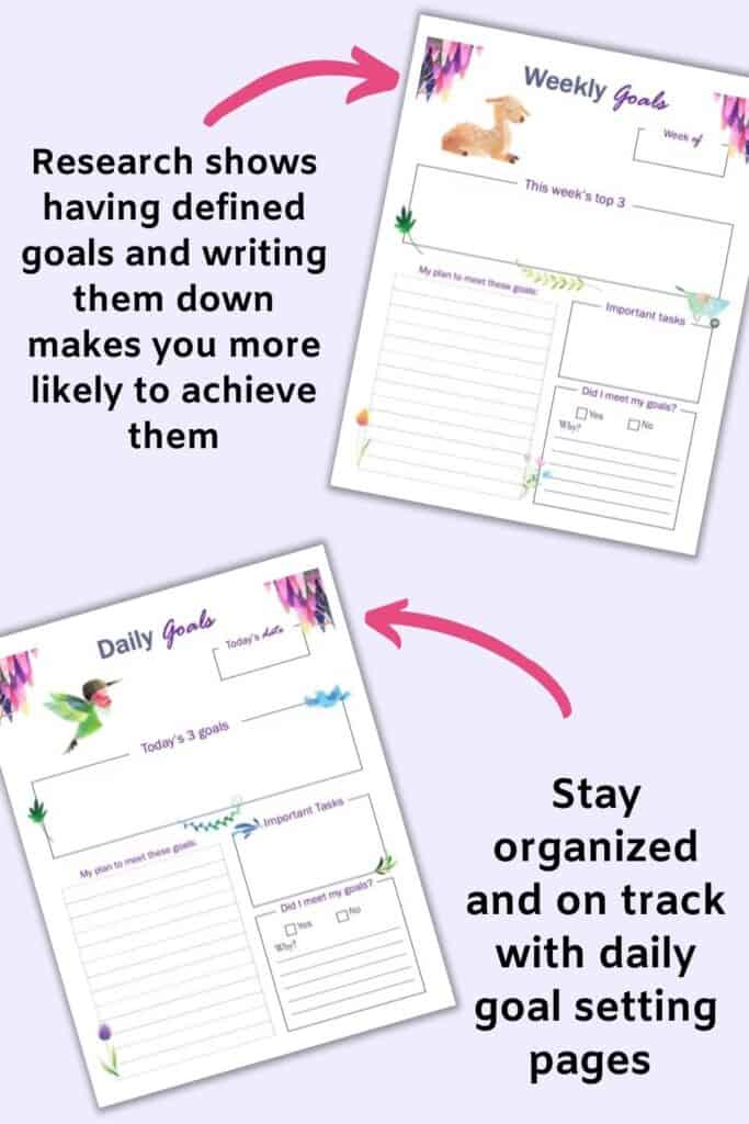 A preview of two printable goal planner pages with watercolor spring floral clipart. The top page is for weekly goals and the bottom page is for daily goals. Each page has space to record the date, the day or week's top 3 goals, action steps, notes, and a check-in.