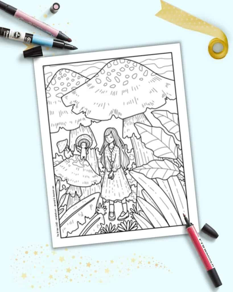 A preview of a free printable cute mushroom coloring page with a girl in a mushroom forest and a cute mushroom person guide.