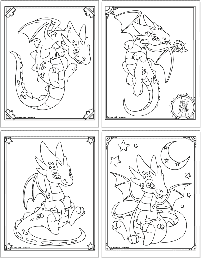A 2x2 grid with four free printable cute baby dragon coloring pages. Each page has a doodle frame to color. One page also has a small castle and another has a moon and stars with a sitting baby dragon.