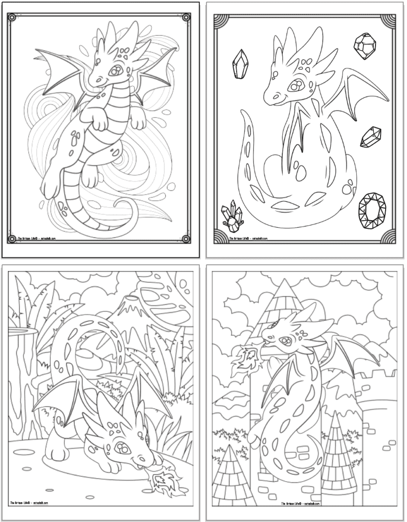 A 2x2 grid with four free printable cute baby dragon coloring pages. The top two pages have a doodle frame to color. The bottom two pages have a full background scene. On the left is a tropical jungle with a volcano and a baby dragon breathing fire. On the right is a dragon climbing a stone castle tower.