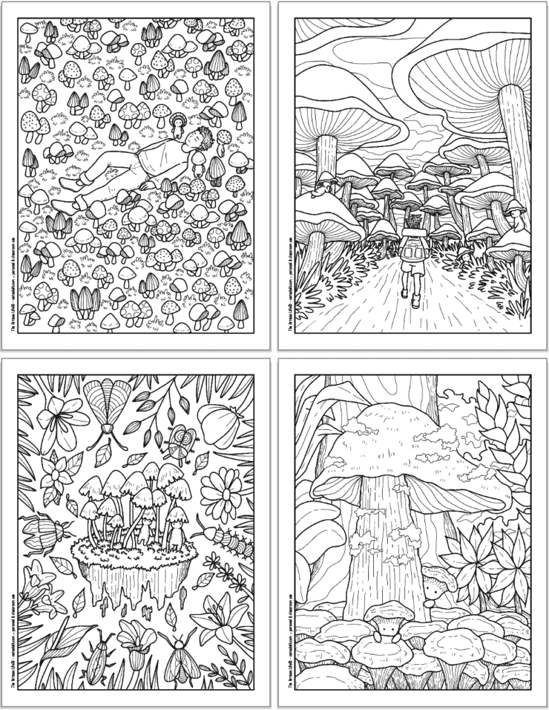 A 2x2 grid with four printable mushroom coloring pages. Each page has cute mushroom people to color with a man napping in a field of mushrooms, a person walking through a mushroom forest, cute insets and flowers, and peeping out from behind a large mushroom.