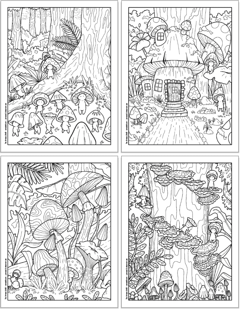 A 2x2 grid with four printable mushroom coloring pages. Each page has cute mushroom people to color with a tree, a mushroom house, peaking out from behind a mushroom, and climbing up mushrooms on a tree.