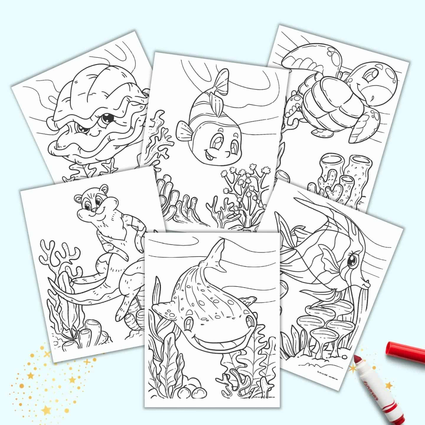 21 Free Printable Cute Sea Creature Coloring Pages For Kids The Artisan Life