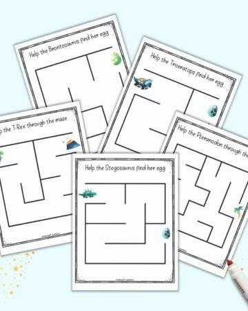 a preview of five very easy mazes for toddlers and perschoolers. Each page has a dinosaur theme with a dino at the entry point for the maze.