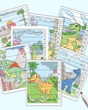 A preview of seven printable dinosaur themed number building puzzles for preschoolers and kindergarteners. Each page features a vertical, full color dinosaur image with strips to cut out. The strips have numbers 1-5, 1-10, skip counting by 2s, skip counting by 3s, and skip counting by 10s