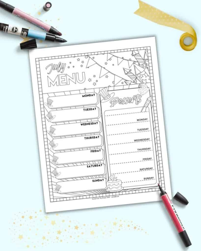 A free printable July menu planner page with spots to plan meals and desserts for the week. The page is in black and white with Fourth of July themed elements to color.