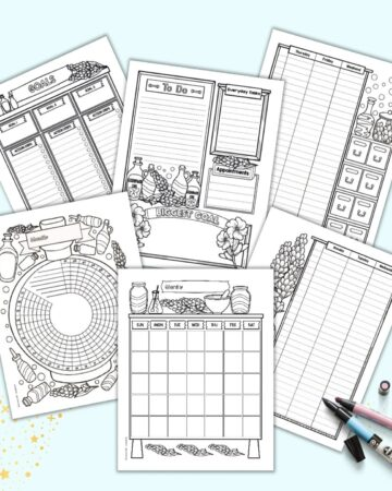 A preview of six pages of bujo style lavender theme printable planner pages. The pages are on a light blue background with a pink and a blue marker.