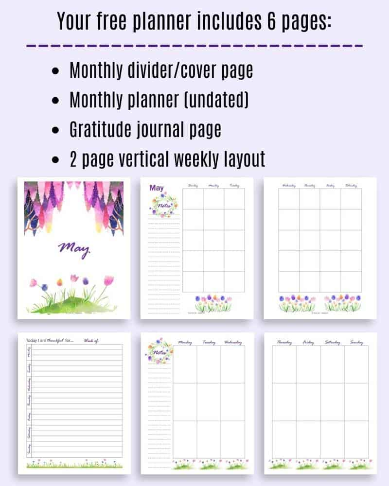 An image with six pages of May planner with watercolor illustrations: a cover page, a two page monthly spread, a two page weekly spread, and a gratitude journal page.