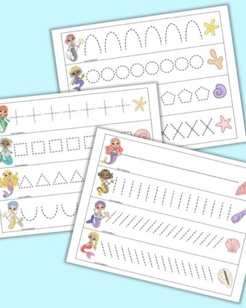 A preview of three pages of printable mermaid themed prewriting practice cards for preschoolers. Each page has four cards to cut out and trace. There is a mermaid on the left of each card and a shell on the right. Each card has a different dotted shape or line to trace.
