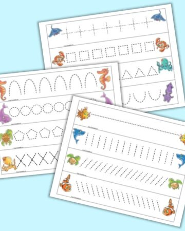 A preview of three pages of ocean themed prewriting practice cards for preschoolers. Each page has four cads to cut out. Each card has dotted shapes or lines to trace and a cute illustrated ocean animal on each end of the card.