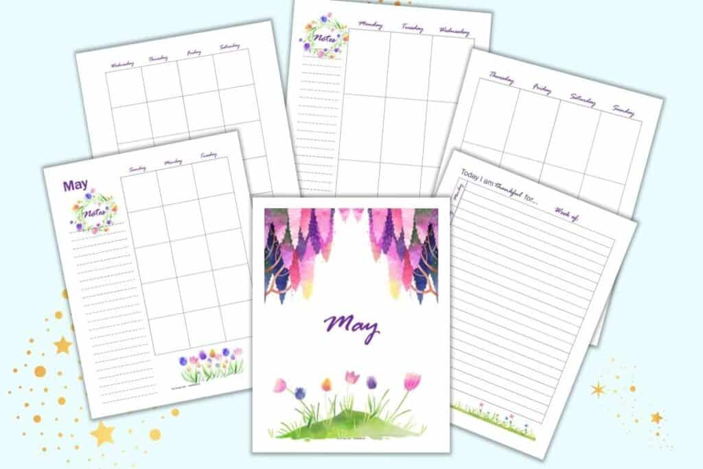 A preview of six May themed planner printable pages. Pages include a May divider page with tulips and wisteria, a two page monthly calendar spread, a gratitude journal page, and a two page vertical weekly spread.