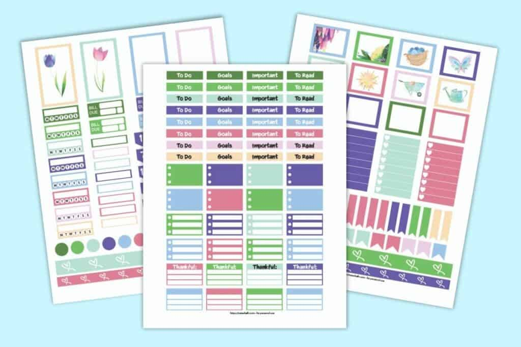 Three pages of planner sticker printables for May. Stickers have greens, purples, and pinks in a floral spring palette. Stickers include full boxes, half boxes, checklists, habit trackers, bill pay stickers, to do headers, washi tape, flags, and date stickers.