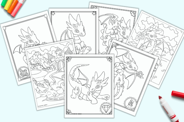 A preview of seven cute free printable  baby dragon coloring pages on a light blue background with colorful children's markers.