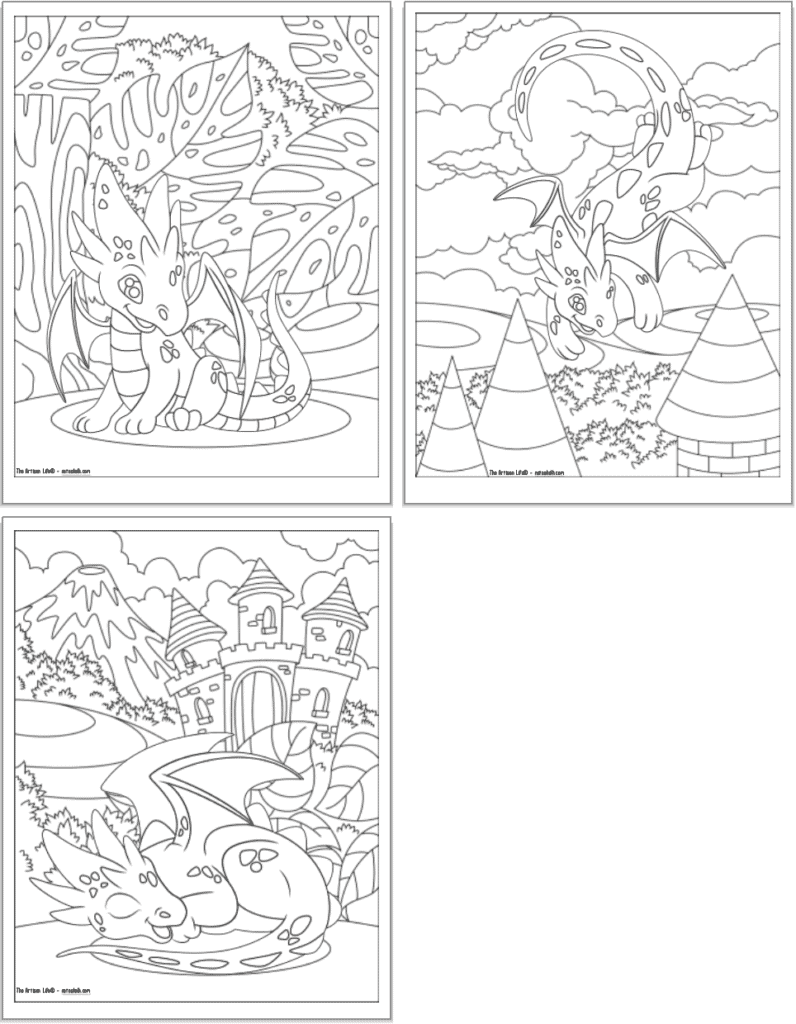 Three printable cute baby dragon coloring pages with full backgrounds to color. The pages have: a tropical jungle with a sitting dragon; stone castle towers with a flying dragon, and a napping baby dragon in front of a castle.