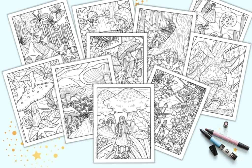 A preview of 10 printable coloring pages. Each page has cute mushroom people in in a woodland setting with more mushrooms, mushroom houses, butterflies, and dragonflies. The pages are on a light blue background with pink and blue markers.
