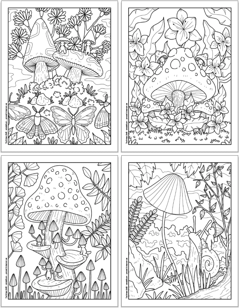 A 2x2 grid with four printable mushroom coloring pages. Each page has cute mushroom people to color with butterflies, a large spotted mushroom and flowers, lots of small mushrooms, and riding on a snail.