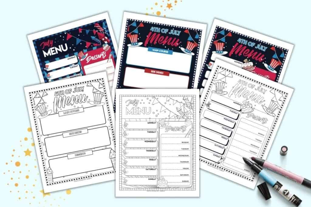 A preview of six pages of free July menu planner printable. Three pages are black and white, three in color. Pages include a July themed weekly menu planner, Fourth of July dinner menu planner, and 4th of July week menu planner