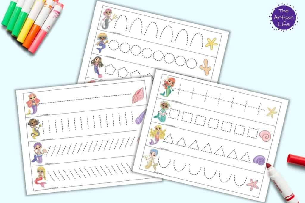 A preview of three pages of printable mermaid themed prewriting practice cards for preschoolers. Each page has four cards to cut out and trace. There is a mermaid on the left of each card and a shell on the right. Each card has a different dotted shape or line to trace. The pages are on a light blue background with colorful children's markers.