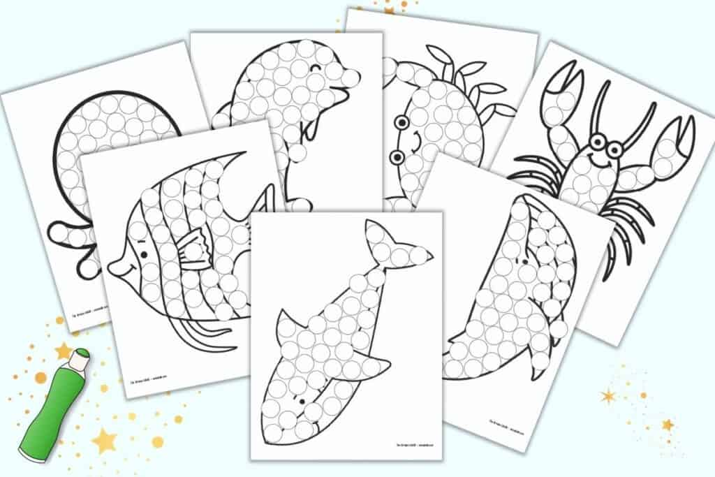 A preview of seven printable dot marker coloring pages. Each page has a large ocean animal with dots to color in with a dauber style marker. Animal include: shark, whale, lobster, crab, dolphin, angelfish, and octopus