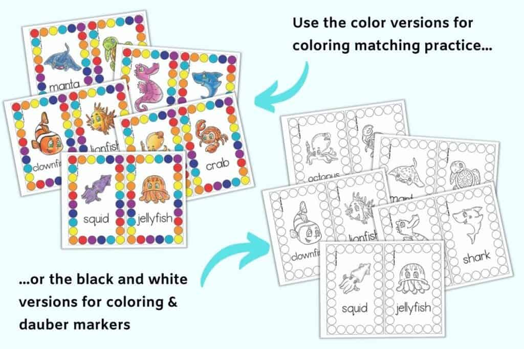 """On the left are five pages of printable roll and count mats with colorful circles and ocean animals. An arrow points as the previews with the next """"Use the color versions for color matching practice..."""" Below and to the right are the same five counting mats in black and white. An arrow with the text """"...or the black and white versions for coloring & dauber markers"""" points at this set of preview."""