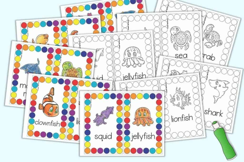 A preview with ten pages of roll and count ocean mats. Each page has two cards to cut apart and use. Half of the pages have ocean animals with colorful circles to color. The other five pages have black and white circles with black and white ocean animals.